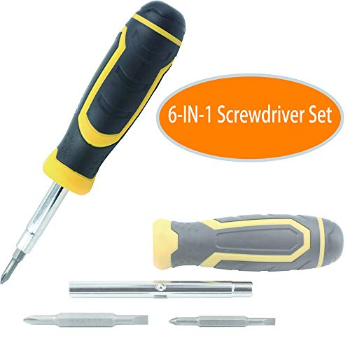 Zero Tools 6-in-1 Multi-Tool Screwdriver and Nut Driver Set, Industrial Strength Bits, Cushion Grip Handle, Household Tool with Completed Specification