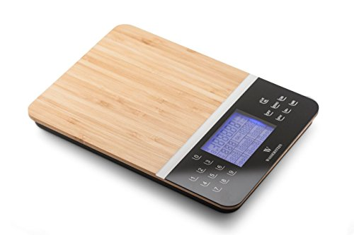 Digital Nutrition Scale; Nutrition Facts Display Scale - Professional Food and Nutrient Calculator by Wasserstein (Bamboo)
