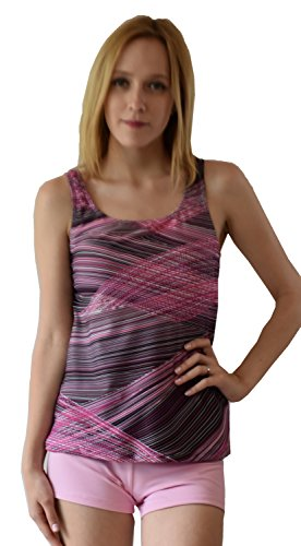 Private Island Hawaii UV Women Tankini Top Under Bra (Large, Multi Lines)