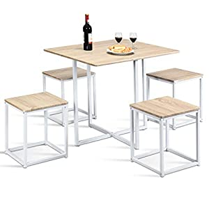 Giantex-5-Piece-Dining-Table-Set-with-4-Stools-Metal-Frame-Space-Saving-Storage-Bar-Pub-Kitchen-Beige-White