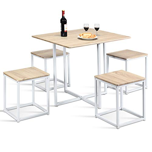 Giantex 5 Piece Dining Table Set with 4 Stools Metal Frame Space-Saving Storage Bar Pub Kitchen (Beige & White)