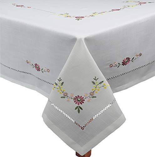 (Creative Linens Hemstitched Embroidered Daisy Flower Tablecloth 70