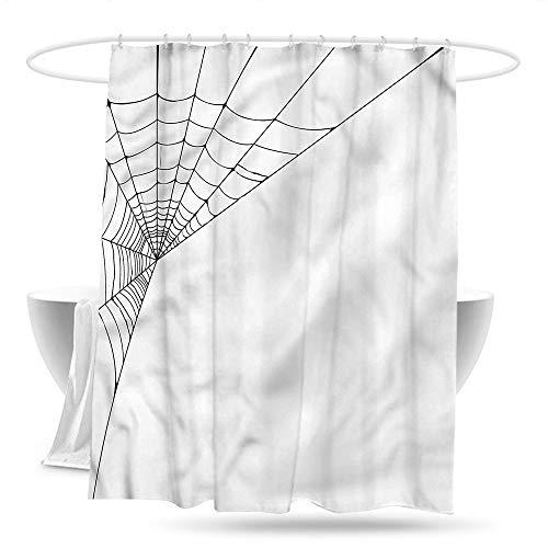 haniu Shower stall Curtains Modern Spider Web Icon Halloween Bathroom Curtain Washable Polyester W59×L70