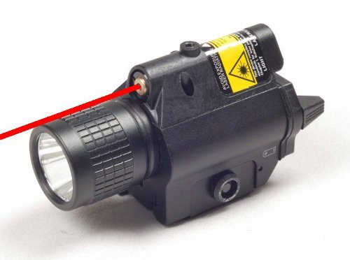 Ade Advanced Optics Tactical Compact Rail Mounted RED Laser Sight with 200 Lumen LED Flashlight