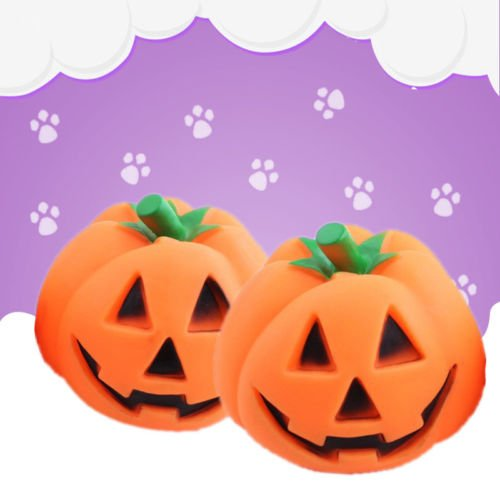 NPLE--Orange Halloween Pumpkin Pet Dog Chew Fun Play Toy Squeak Pet Supply (History Halloween Lesson)