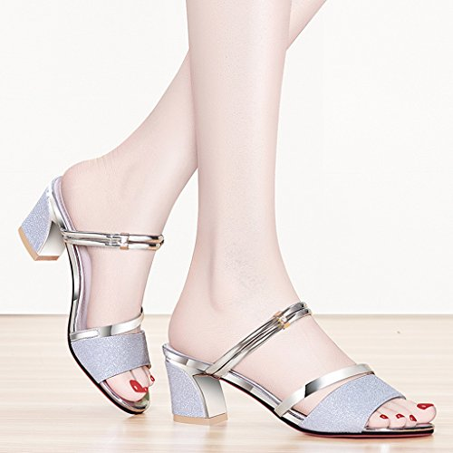 Sandals PU Vamp Two Wear Summer Heel Shoes Open Toe Thick Heel Shoes Silver jEfOOb