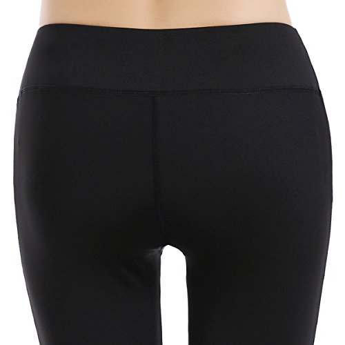 Zengvee Women Yoga Pants Fitness Sports Leggings Stretch Gym Workout Running Elastic Cropped Leggings Athletic Trousers 002-black-M