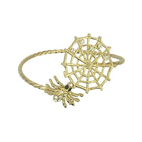 Spider web Halloween Swarovski Crystals NEW Gift Bangle Bracelet Cuff RSB1142-G