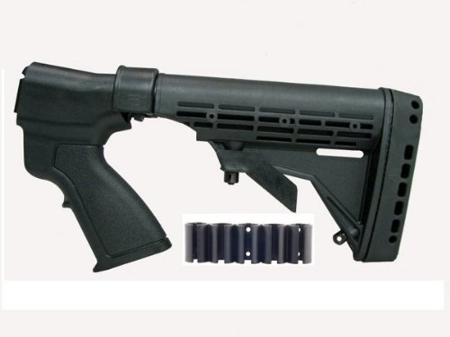 Ultimate Arms Gear Mossberg 500 / 590 / 835 12 Gauge Tactical Shotgun Conversion Kit: Six 6 Position Adjustable and Collapsible Stock + Rear Pistol Grip + Shell Holders + Recoil Butt Pad + Sling Swivel Stud, Outdoor Stuffs
