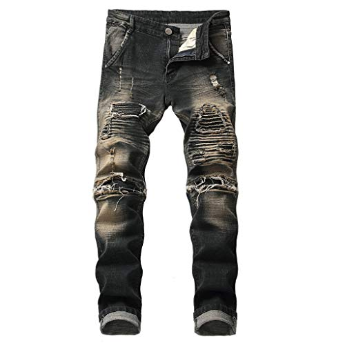 (Men's Vintage Washed Distressed Jeans Teen Boys Ripped Destroyed Stretch Skinny Tapered Leg Denim Pants for Spring (Black, 30) )