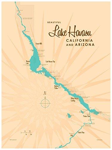 Lake Havasu, California & Arizona Map Vintage-Style Art Print by Lakebound (18
