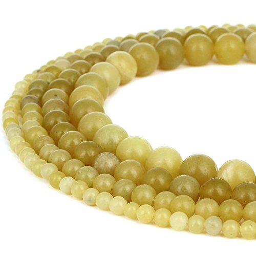 RUBYCA Natural Lemon Jade Gemstone Round Loose Beads Yellow for DIY Jewelry Making 1 Strand - 8mm
