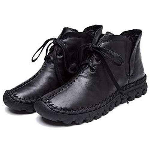 Plate Neige Peluche De À En Rond Courte Bottes forme Vache Fourrure Bout Main Occasionnels Cuir La Noire Lacets Femmes Chaussures aEq6txwt