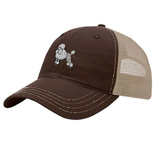 (Trucker Hat Richardson Poodle White Embroidery Dog Name Cotton Soft Mesh Cap Snaps - Brown/Khaki, Design)