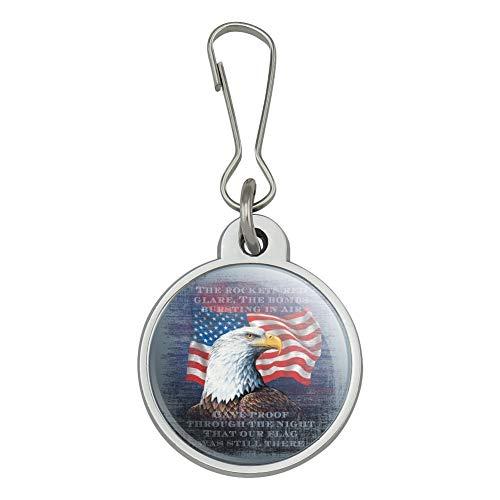 - Patriotic Eagle Rockets Red Glare American Flag Jacket Handbag Purse Luggage Backpack Zipper Pull Charm