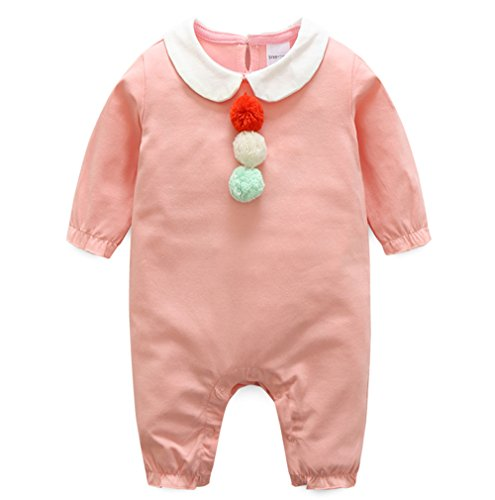 Ding-dong Baby Girl Cotton Pompon Long Sleeve Romper£¨PINK,0-3M£