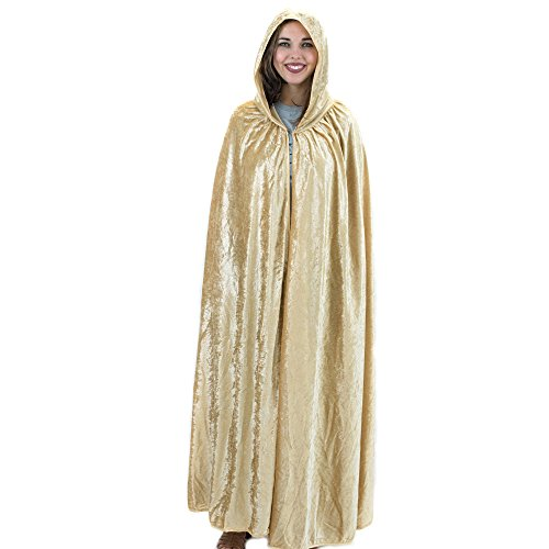 Everfan Gold Hooded Cape | Cloak with Hood for Halloween, Cosplay, Costume, Dress Up
