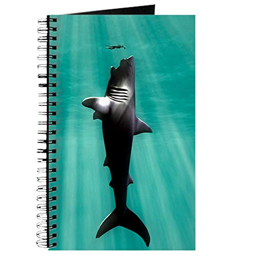 (CafePress Megalodon Prehistoric Shark with Human Spiral Bound Journal Notebook, Personal Diary, Blank )