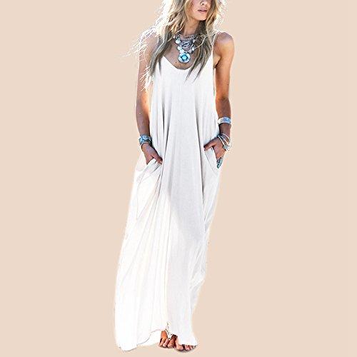 GigaMax(TM) Summer Casual Vestidos Women Strapless Long Maxi Beach Dress Sexy V Neck