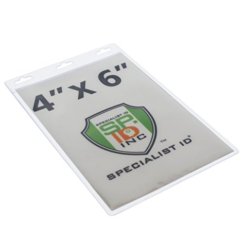 "Bulk 100 Pack - Large 4X6 Clear Vertical Vinyl Badge Holder - Perfect Fit for 4"" X 6"" Credentials and Tickets - by Specialist ID"