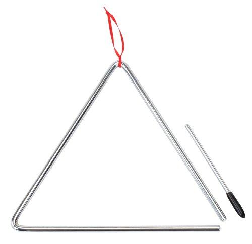 XDrum Triangel, groß 25cm mit Schlägel (Material: Stahl, Schenkellänge: 25 cm, Gewicht: ca. 190 g, Durchmässer Stahlstäbe: ca. 8mm, Schnelle Ansprache mit feinem Klangcharackter)