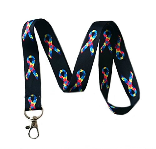 Autism Awareness Ribbon Print Lanyard Key Chain Id Badge Holder (Black Strap)