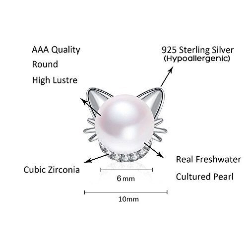 Cat Cute Sterling Silver with Crystal Zircon and AAA Cultured Freshwater Pearl Stud Earrings for Girls Kids