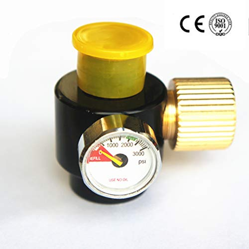 Airsoft PCP Paintball Tank Cylinder Adjustable Compressed Air Regulator Output Pressure 0.825-14NGO Thread (0-3000PSI Output)