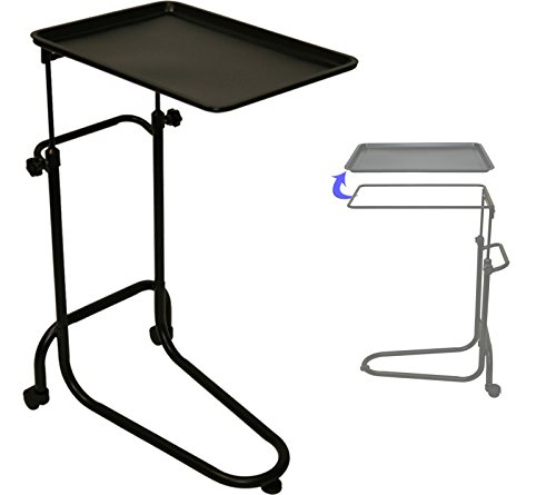 LCL Beauty Extra Large Black Double-post Mayo Instrument Stand & Work Tray