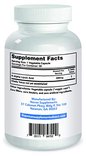 R-Alpha Lipoic Acid 300MG OF PURE R-LIPOIC ACID 90 count. ((((MAX STRENGTH)))) by Premium Supplements (Image #2)