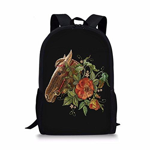 - FOR U DESIGNS Embroidery Horse Backpack Kids Boys Girls School Shoulder Back Pack
