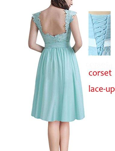 Spitze Kurze Kleider die Lovelybride Brautjungfer Kleider Lila für Mini Party Hochzeit 0Uaxdq