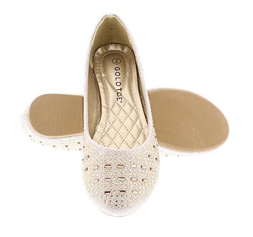 Gold Toe Womens Karma Rhinestone Studded Sparkle Ballet Flats, Casual Round Toe Dress Shoes Gold