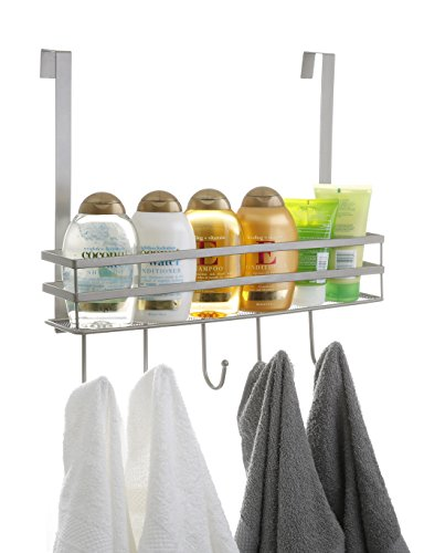 BINO 'Lafayette' Over-the-Door Basket with Hooks, Nickel (Lafayette Bath)