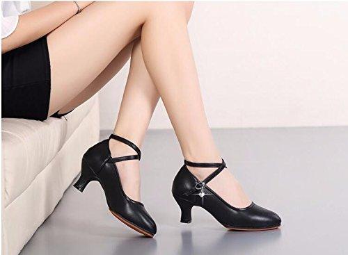 SQIAO-X- Scarpe da ballo Kraft pavimento in gomma bassi punti di cattura con il cuoio in ballo latino ballo sociale e danza moderna Professional scarpe da ballo, vino rosso (3.5Cm),39