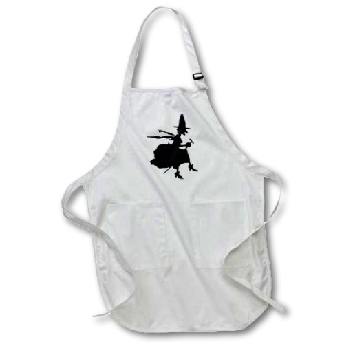 Witch Silhouette Artwork 3dRose TNMGraphics Halloween apr/_165486/_2 Medium Length Apron with Pouch Pockets 22w x 24l