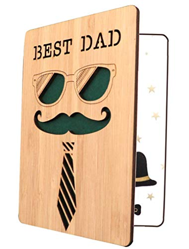 Father's Day Card,Best Dad Card,Real Bamboo Wooden Greeting Birthday Card for Dad, Fathers Birthday Gifts Card