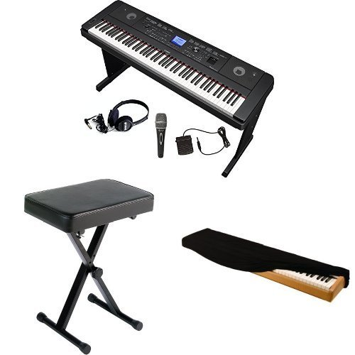 Yamaha DGX660 Digital Piano Microphone and Headphone Bundle with Dust Cover, Yamaha Bench and Pedal