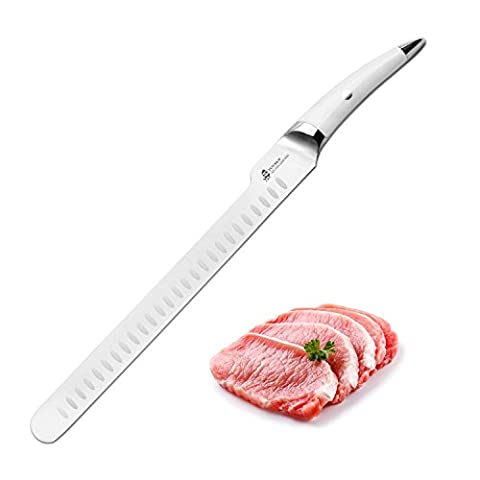 TUO CUTLERY Slicing Knife 12''White Handle-Japanese Ultra Stainless Steel Kitchen Knife - Slicing Carving Knife