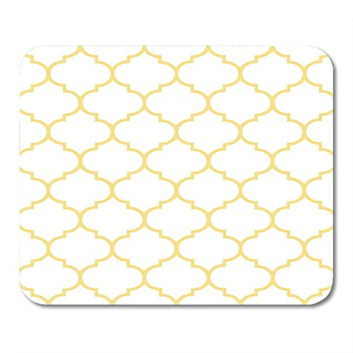 Semtomn Gaming Mouse Pad Watercolor Abstract Hamptons Moroccan White and Gold Pattern Antique 9.5