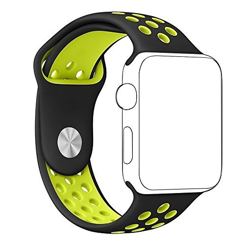Apple Watch Band - e6Hope Soft Silicone Replacement iWatch Strap for Apple Watch Series1,Series 2 (Black+Volt, 38mm - S/M)
