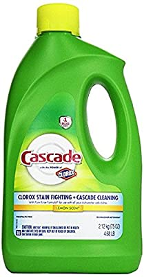 Cascade Gel Dishwasher Detergent, with the power of Clorox, Lemon Scent 75 Oz - Pack of 2