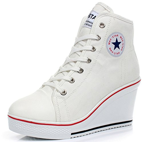 JiYe Women's High-heeled Canvas Shoes High-Top Wedge Fashion Sneakers,White,9 M US (Heeled Sneaker High)