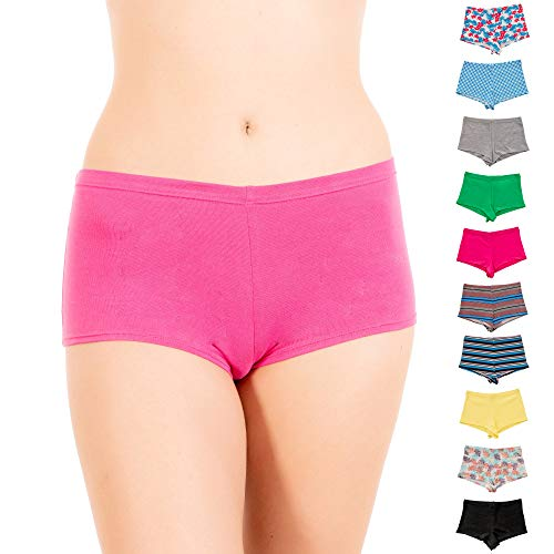 (Alyce Intimates Womens Cotton Boyshort Panty, Pack of 10)