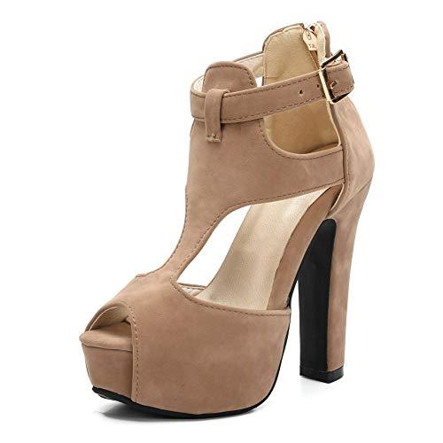 Women's Girls' Ankle Strap Peep-Toe Platform Chunky Block High Heel Dress Sandals Apricot EU31