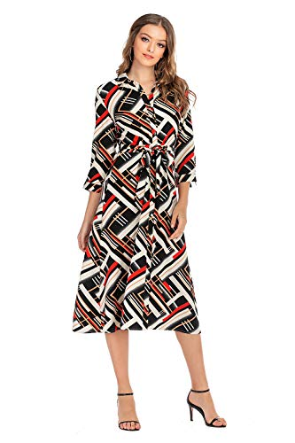 SHENGYI Women's Boho Plaid Print Button Up Split Flowy Work Dress with Belt Small Black Plaid