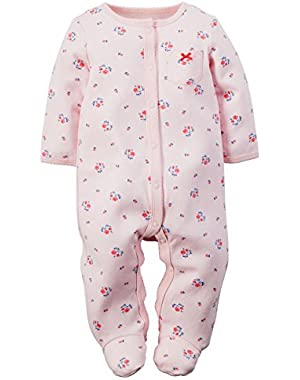 Pink Floral Cotton Snap Up Sleep & Play Sleeper 3 Months