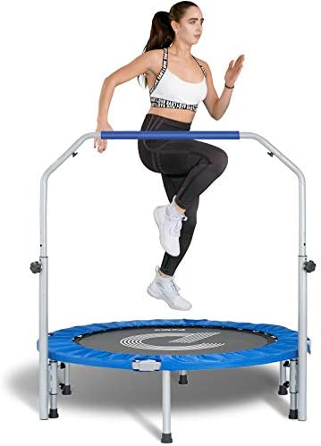 """pelpo 38''/40"""" Folding Mini Trampoline, Fitness Rebounder with Adjustable Foam Handle, Exercise Bounce for Adults Indoor/Outdoor Workout Max Load 330lb"""
