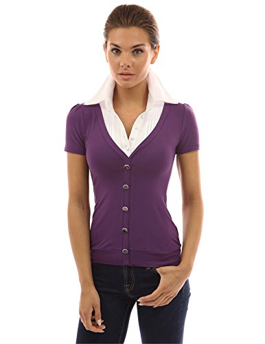 PattyBoutik Women's 2-in-1 Pleated White Shirt Blouse (Purple and white ()