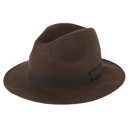 d2d Unisex 100% Wool Handmade Fedora Hat With Grosgrain Band - Chocolate Brown by d2d